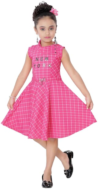 Arshia Fashion Blended Printed Frock - Pink