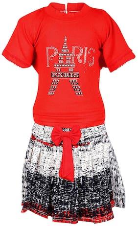 Arshia Fashion Girl Blended Top & Bottom Set - Red