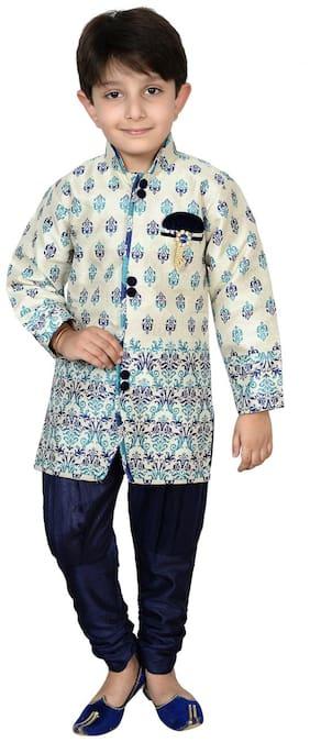 Arshia Fashion Boy Blended Printed Sherwani - Grey