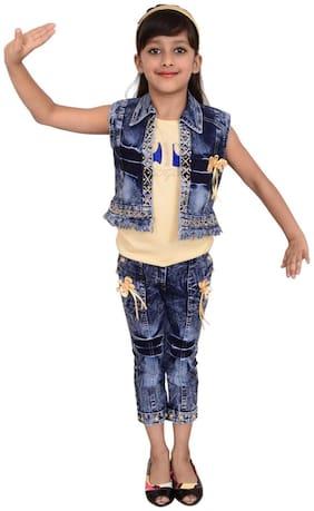 Arshia Fashions Girls Dress Top and Capri with Denim Jacket - sleeveless - Party wear - Beige Blue