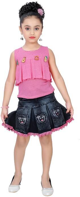 Arshia Fashion Girl Denim Top & Bottom Set - Pink