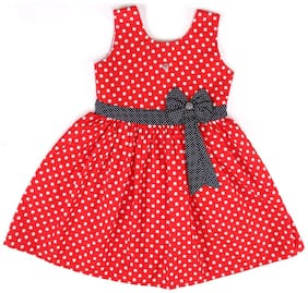 Arshia Fashion Red Cotton Sleeveless Knee Length Princess Frock ( Pack of 1 )