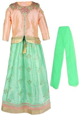 Arshia Fashion Girl's Silk Solid Sleeveless Lehenga choli - Multi