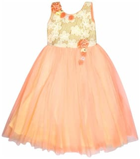 Arshia Fashion Net Solid Frock - Orange