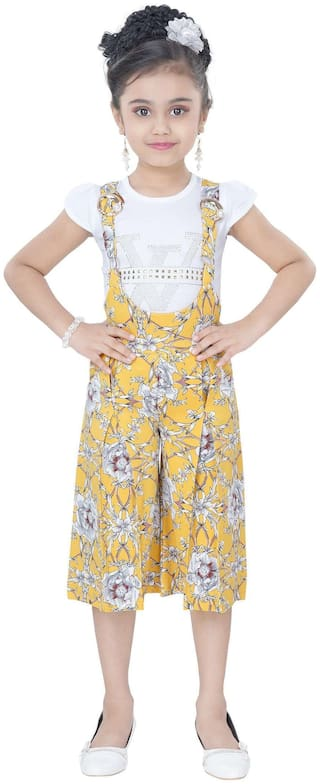 Arshia Fashion Blended Printed Dungaree For Girl - Yellow