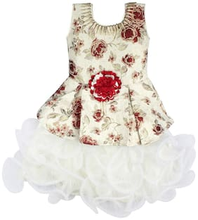 Arshia Fashion Baby girl Net Solid Princess frock - Red