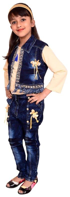 Arshia Fashions Girl Denim Top & Bottom Set - Blue