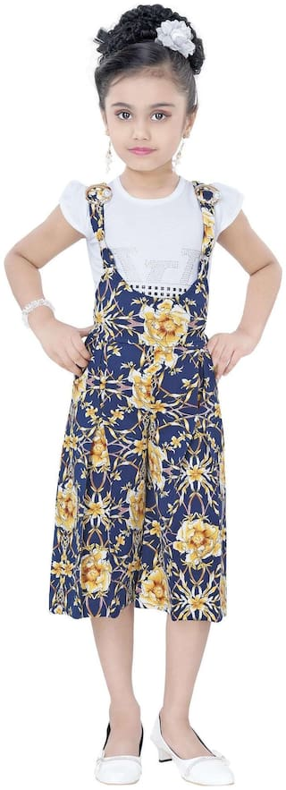 Arshia Fashion Blended Printed Dungaree For Girl - Blue
