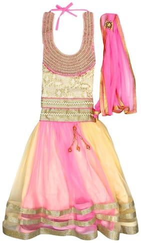 Arshia Fashion Girl's Net Embellished Sleeveless Lehenga choli - Pink