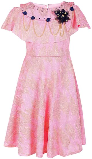 Arshia Fashion Blended Solid Frock - Pink