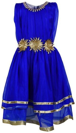 Arshia Fashion Net Embellished Frock - Blue