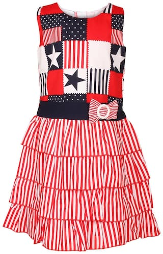 Arshia Fashion Baby girl Cotton Solid Princess frock - Red