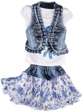 Arshia Fashions girls partywear Skirt top with Denim Jacket Pink White