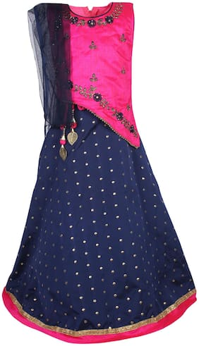 Arshia Fashions Girl's Silk blend Embellished Sleeveless Lehenga choli - Pink & Blue