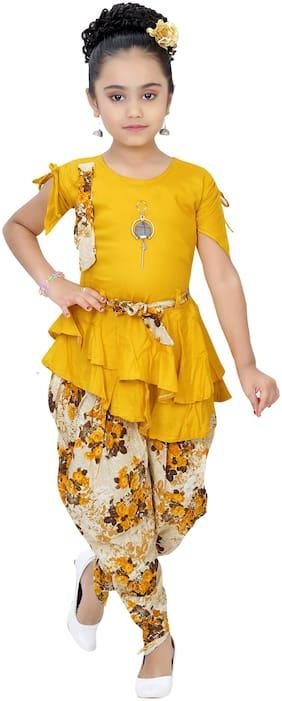 Arshia Fashions Girl's Blended Printed 3/4th sleeves Kurti & salwar set - Yellow