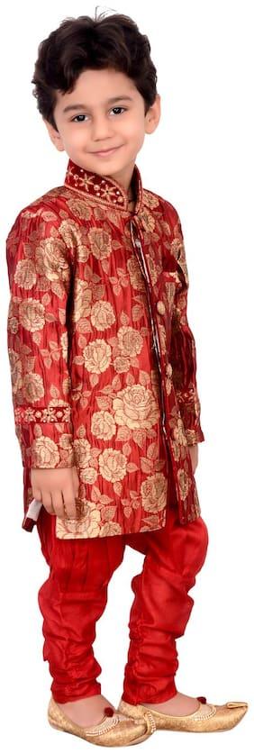 Arshia Fashion Boy Blended Printed Kurta pyjama set - Red