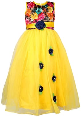 Arshia Fashion Net Solid Frock - Yellow