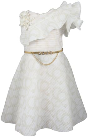 Arshia Fashion Blended Solid Frock - White