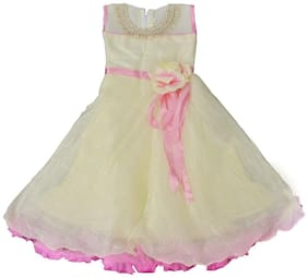 Arshia Fashions girls party dresses - sleeveless - Party wear - Long - Offwhite Party Gown