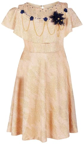 Arshia Fashion Baby girl Blended Solid Princess frock - Gold