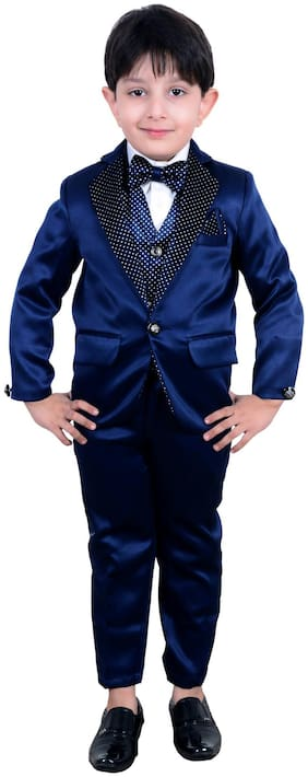 Arshia Fashions Boys Five Piece Coat Suit with Shirt Pant Waistcoat & Tie set - B191