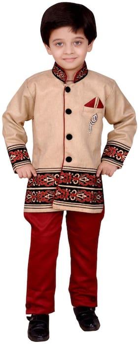 Arshia Fashion Boy Blended Solid Kurta pyjama set - Pink