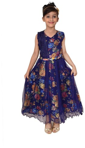 7089768f3c7 Arshia Fashions Girl Net Floral Frock - Blue