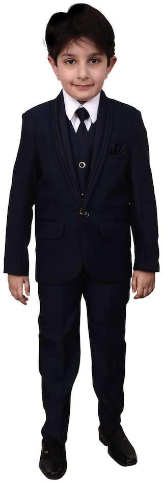 Arshia Fashion Boy Blended Solid Kurta pyjama set - Blue
