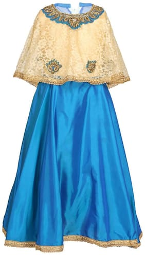 Arshia Fashion Girl's Net Solid Sleeveless Gown - Blue