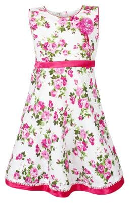 Arshia Fashions Girls Floral Print Cotton Frock Dress