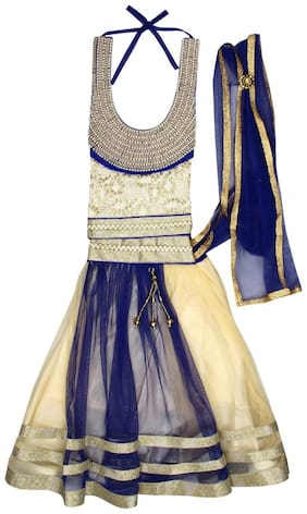 Arshia Fashion Girl's Net Solid Sleeveless Lehenga choli - Blue