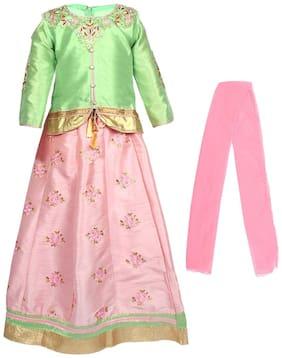 Arshia Fashion Girl's Silk Solid Sleeveless Lehenga choli - Pink