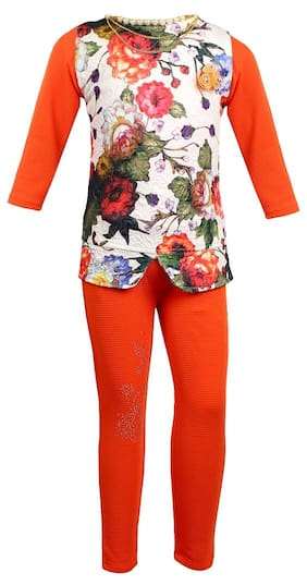 Arshia Fashions Girls Partywear Top Inner and Jegging Set