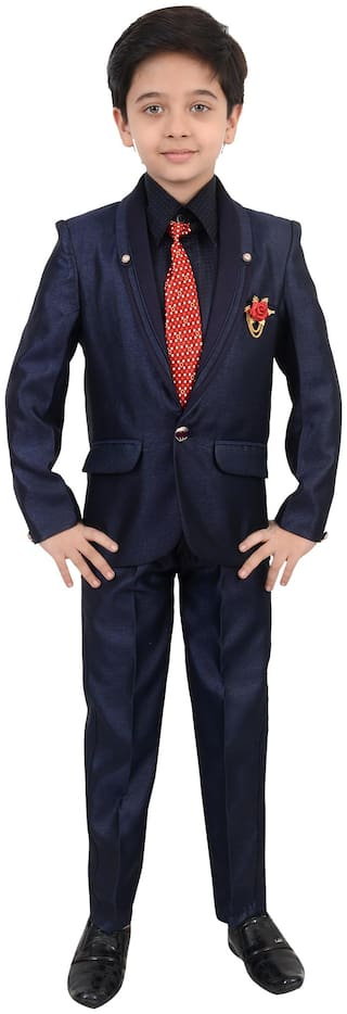 Arshia Fashions Boys Coat Suit with Shirt Pant And Tie Set