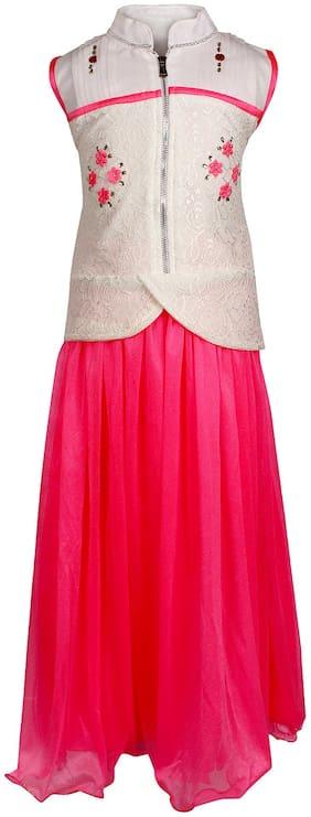 Arshia Fashions Girls Partywear Top and Long Skirt Set