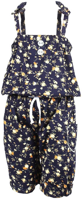 Arshia Fashion Cotton Floral Romper For Girl - Blue