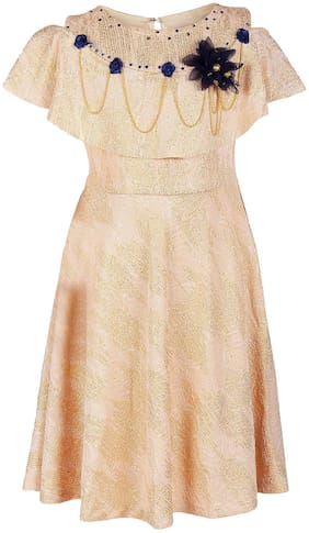 Arshia Fashion Blended Solid Frock - Yellow