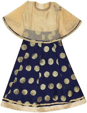 Arshia Fashion Girl's Cotton blend Solid Sleeveless Lehenga choli - Blue