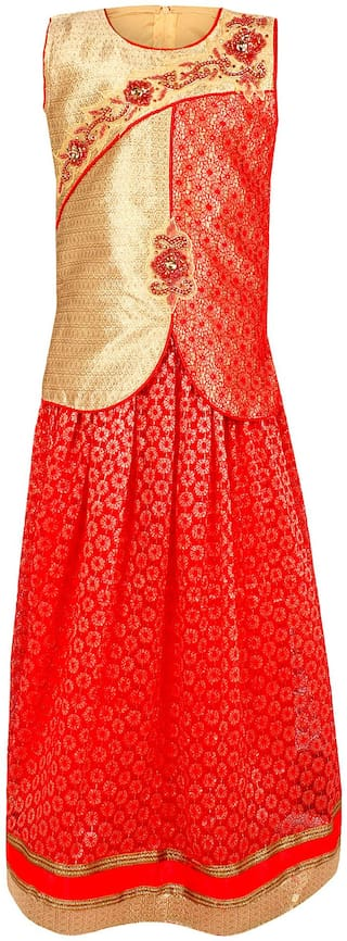 Arshia Fashion Girl's Net Solid Sleeveless Kurta & kurti - Red