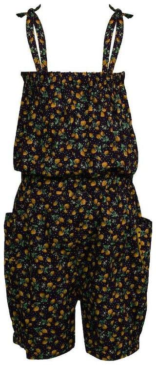 Arshia Fashion Cotton Printed Romper For Girl - Black