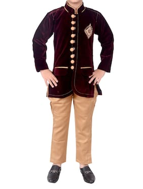 Arshia Fashion Boy Velvet Embellished Kurta pyjama set - Brown