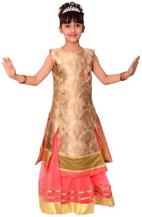 Arshia Fashion Girl's Tissue Solid Sleeveless Lehenga choli - Gold