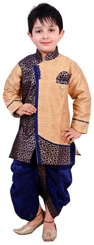 Arshia Fashion Boy Blended Printed Dhoti Kurta - Blue