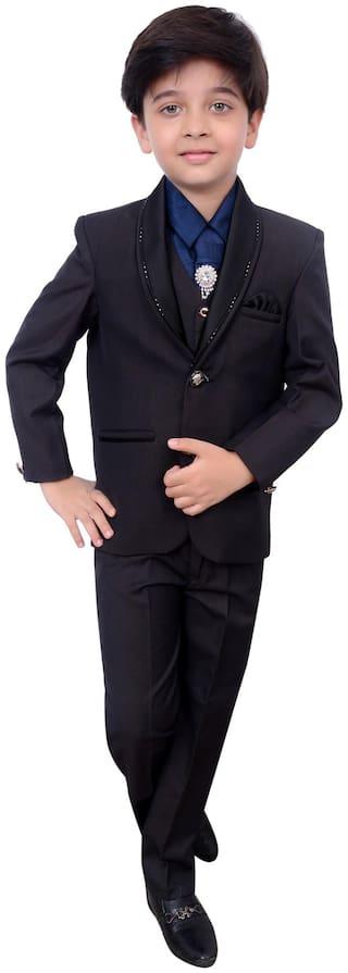 Arshia Fashion Boy Blended Solid Kurta pyjama set - Black