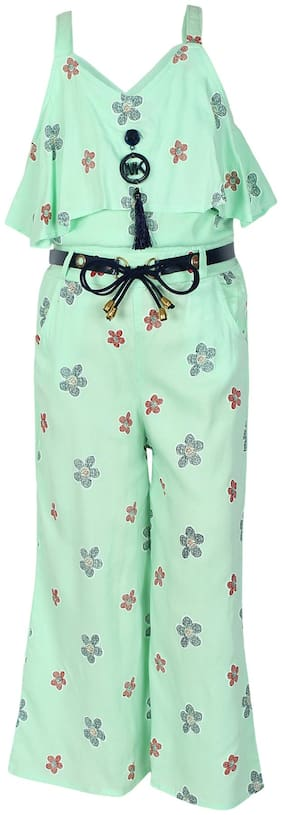 Arshia Fashions Cotton Floral Romper For Girl - Green