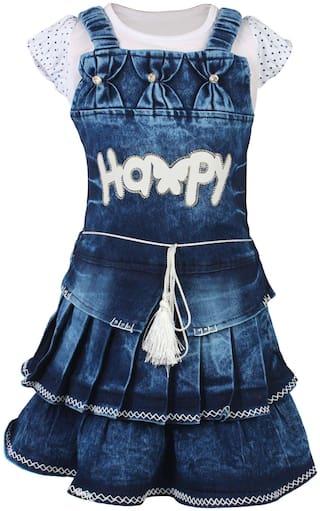 Arshia Fashion Girl Denim Top & Bottom Set - Blue