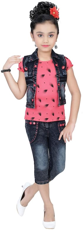 Arshia Fashion Girl Denim Top & Bottom Set - Multi