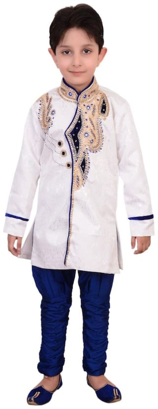 Arshia Fashion Boy Blended Solid Kurta pyjama set - Blue