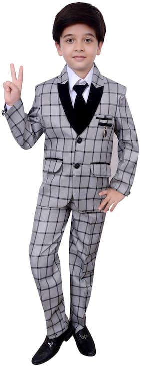 Arshia Fashion Boy Blended Solid Kurta pyjama set - Grey