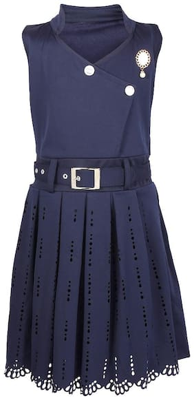 Arshia Fashion Blended Solid Frock - Blue